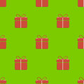 Gift box pattern seamless on green background Stock Photo