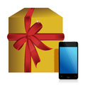 Gift box and phone Royalty Free Stock Photo