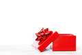 Gift box photo of red on white background Royalty Free Stock Image