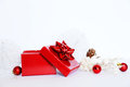 Gift box photo of red on white background Royalty Free Stock Photos