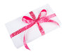 Gift box with pink ribbon isolated on white Royalty Free Stock Photos