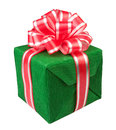 Gift box present green Royalty Free Stock Photos