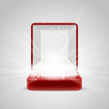 Gift box with radiance inside opened red bright light from glitters sparkles and beams place to insert your object Stock Photos