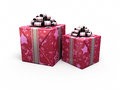 Gift box red d render patterned on white and clipping path Royalty Free Stock Photo