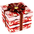 Gift box with red ribbon bow Stock Photography