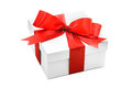 Gift box with red ribbon and bow on white background Stock Photo