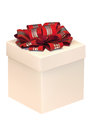 Gift box with red ribbon over white background Royalty Free Stock Photo