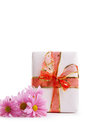 Gift box with red ribbon and pink dasies isolated on white Royalty Free Stock Photography