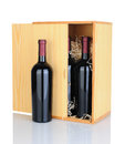 Gift Box of Red Wine Bottles Stock Images