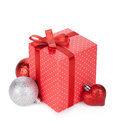 Gift box with ribbon and bow and christmas decor Stock Photography