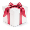 Gift box with ribbon and bow isolated on the white background clipping path included Royalty Free Stock Images