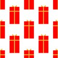 Gift box with ribbon flat icon, vector sign, isolated on white. Seamless holiday pattern