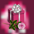Gift box and rose Royalty Free Stock Photo
