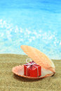 Gift box in a sea shell Royalty Free Stock Photography