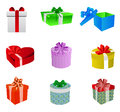 Gift box set colorful boxes isolated on white Stock Photography