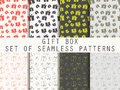 Gift box. Set seamless patterns. Festive pattern for wrapping paper, wallpaper, tiles, fabrics, backgrounds. Royalty Free Stock Photo