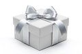 Gift box with silver ribbon bow Royalty Free Stock Photo