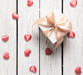 Gift box with small hearts Royalty Free Stock Photo