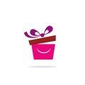 Gift box smile logo