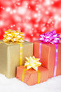 Gift box in snow. Christmas and New Year Royalty Free Stock Photos