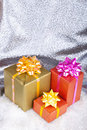 Gift box in snow. Christmas and New Year Stock Image