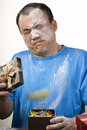 image photo : Gift box spouting powder prank
