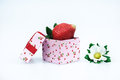 Gift box of strawberries and white flowers Royalty Free Stock Photography