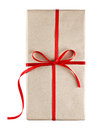 Gift box tied with red ribbon Royalty Free Stock Photo