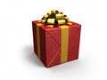 Gift box tinsel render on white and clipping path Stock Photography