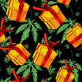 Gift box, vector image seamless background. Seamless pattern with marijuana leafs.