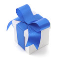 Gift box white with blue bow on white background Royalty Free Stock Photography