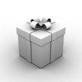 Gift box white occlusion on white background Stock Image