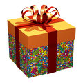 Gift Box Wrap Natural Pattern_3D render Royalty Free Stock Photography
