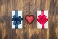 Gift box wrap silk ribbon with love heart shape Royalty Free Stock Photo