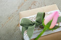 Gift box wrapped in brown paper with rose Royalty Free Stock Photo
