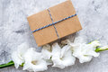 Gift box wrapped in craft paper near flower gladiolus on grey stone background top view copyspace