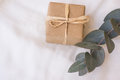 Gift box wrapped in craft paper tied with twine, branch of silver dollar eucalyptus on white linen fabric Royalty Free Stock Photo