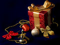 Gift box and Xmas decoration Stock Photos