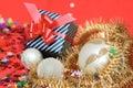 Gift box and xmas decoration Stock Image