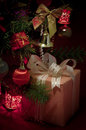 Gift box and xmas tree decoration Royalty Free Stock Photos