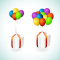 Gift boxes with balloons Stock Image