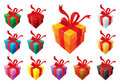 Gift boxes basic set Royalty Free Stock Photo