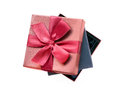 Gift boxes, black one in the brown one. Royalty Free Stock Photo