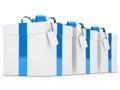 Gift boxes blue ribbon Royalty Free Stock Photo