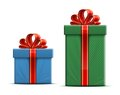 Gift boxes with a bow red ribbon and vector illustration Royalty Free Stock Images