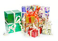 The gift boxes with bows a pack of christmas nice colorful holographic for celebrations Royalty Free Stock Photo