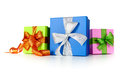 Gift boxes with bows on white background Stock Images
