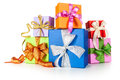 Gift boxes with bows on white background christmas composition Stock Images