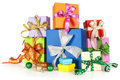 Gift boxes with bows on white background christmas composition Royalty Free Stock Images