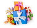 Gift boxes with bows on white background fisheye christmas composition Royalty Free Stock Images